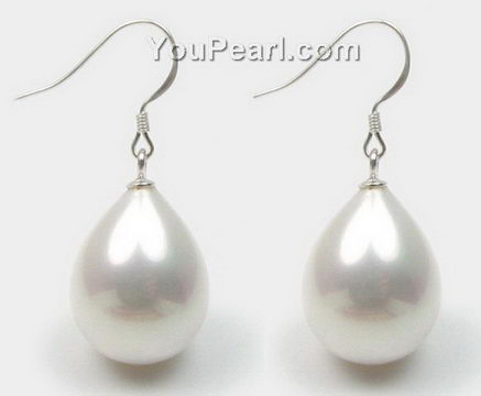 12 18mm White South Sea S Pearl Teardrop Sterling Silver Earrings Whole