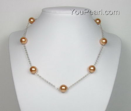 Sterling Tin Cup Necklace Gold Shell Pearl Buy Bulk 10mm
