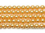 8mm round gold shell pearl strand factory direct buy