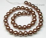 10mm round coffee shell pearl strand discounted price sale
