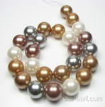 16mm round multicolor large shell pearl strand wholesale